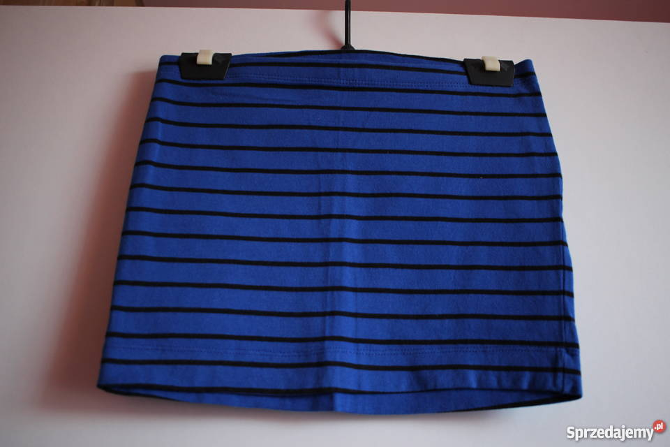 e1fc0af82b3e1e Niebieska spódniczka spódnica w czarne paski H&M 34 XS 36 S Toruń ...