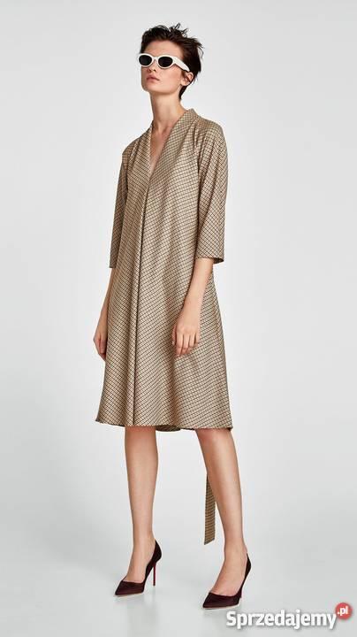 5ccf486226 ZARA elegancka sukienka w kratę brąż beż M Warszawa - Sprzedajemy.pl