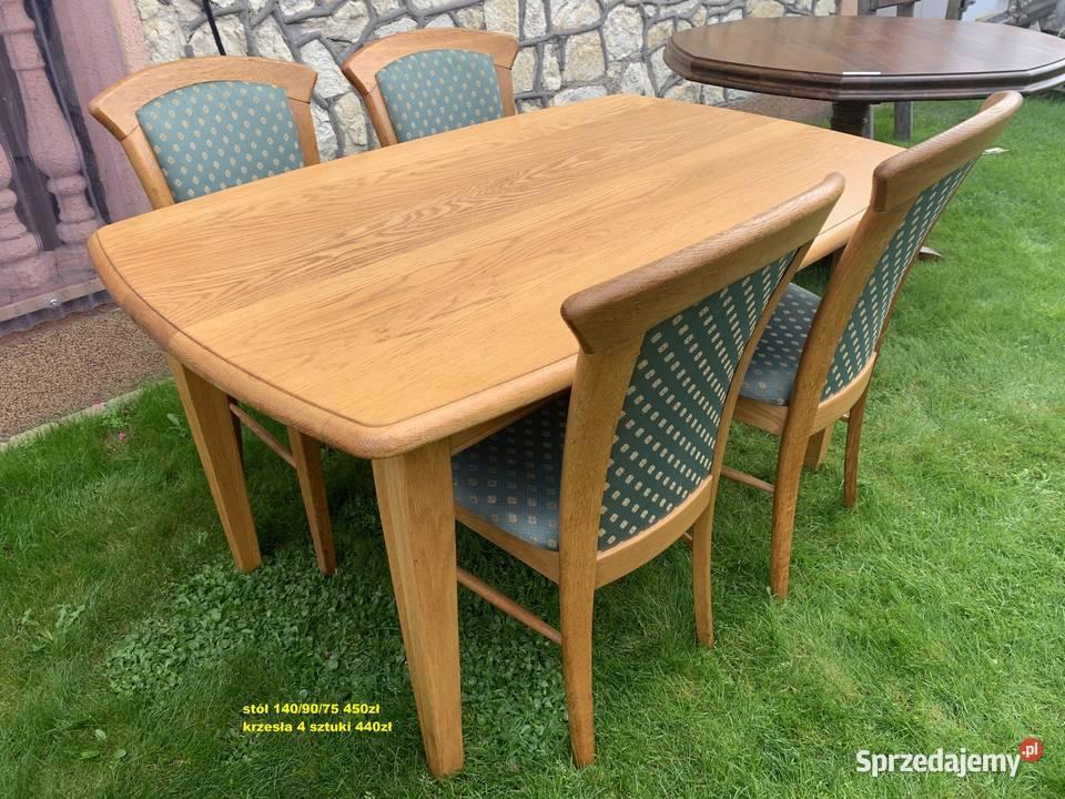 Ładny dębowy komplet w jasnym dębie stół+4 krzesła