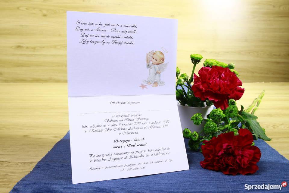 Piękne zaproszenia na chrzest komunię urodziny Warszawa