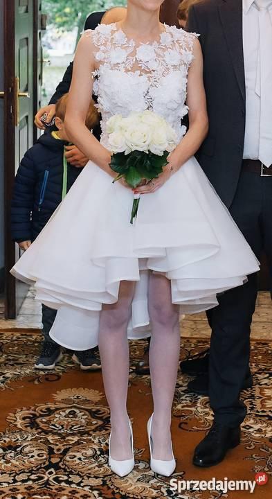 f555209b54 Suknia ślubna asymetryczna piękna z kwiatami 3D Krótka mazowieckie Warszawa  sprzedam