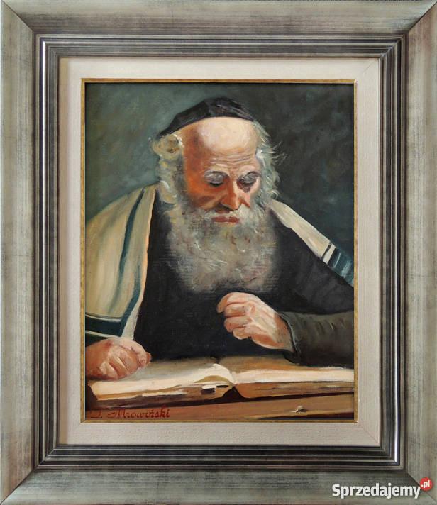 Obraz olejny żyd w tałesie portret żyda z ramą T łódzkie sprzedam
