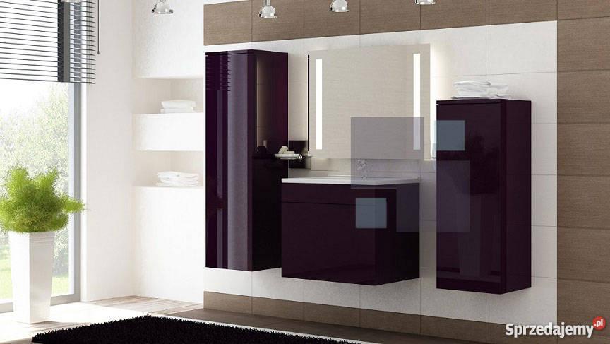 Meble Do łazienki Połysk Akryl Szklane Półki Fiolet