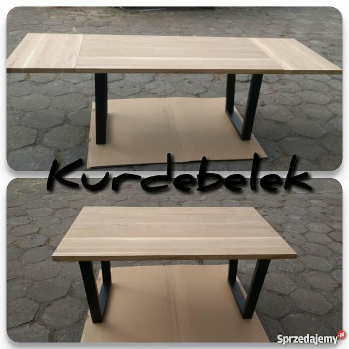 Stół dębowy LOFT industrialny z dostawkami