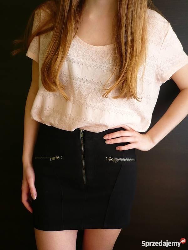 bf6902d979 Czarna krótka spódniczka jeansowa z zamkami HM 3 Rozmiar 34(XS) Toruń  sprzedam