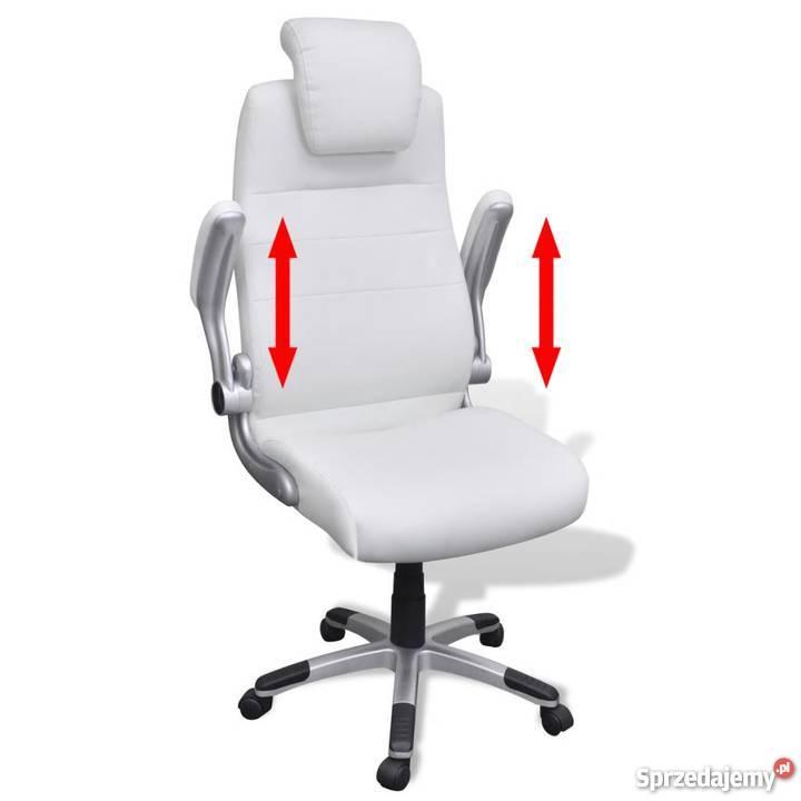 Biały Regulowany Fotel Obrotowy 20090