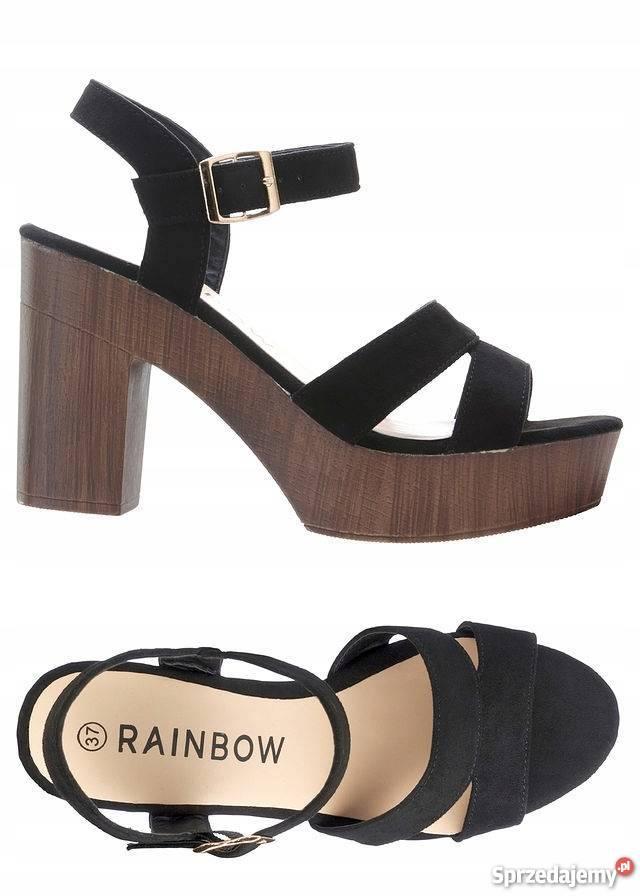 sandały na koturnie rainbow