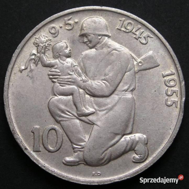 Czechosłowacja 10 koron 1955 - Żołnierz - srebro