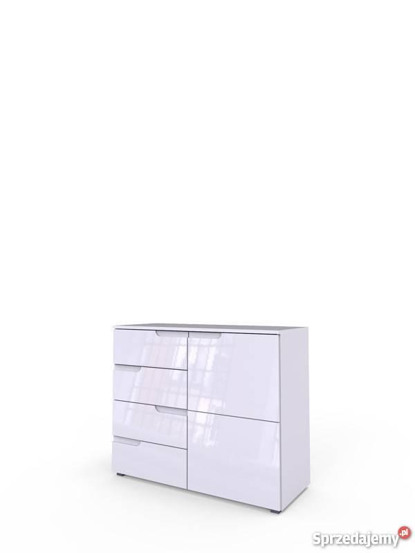SELENE 5- nowoczesna biała komoda szeroka z czteroma szuflad