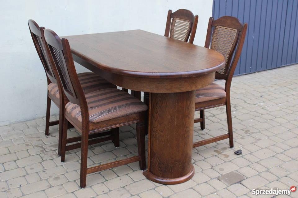 Stół Dębowy 4 Krzesła Rozkładany Meble Holenderskie Leszkowice