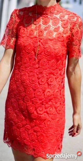 zara czerwona sukienka gipura