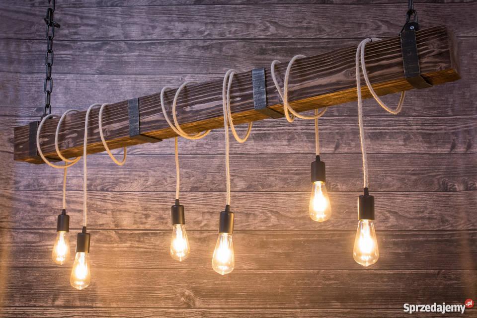 Lampa Drewniana Belka Z żarówkami Edison 150cm