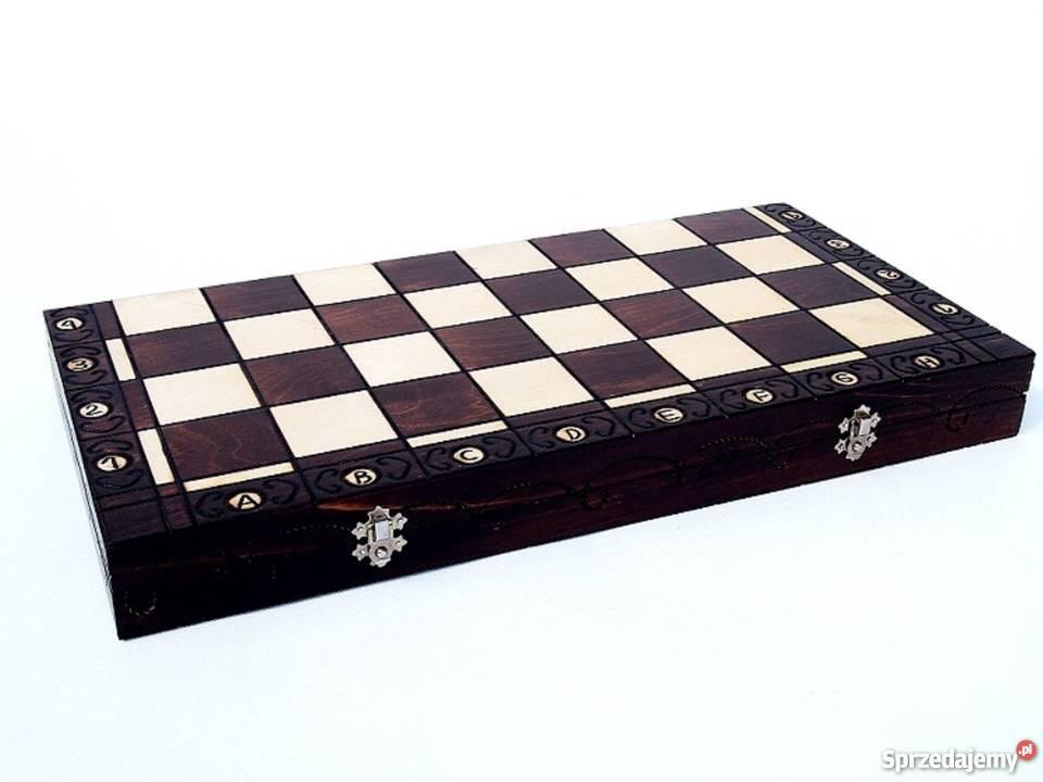 ORYGINALNE drewniane szachy ZAMKOWE 54x54 planszowe Towarzyskie Śleszowice