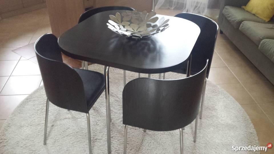 Stół Plus 4 Krzesła Z Miękkim Siedziskiem Ikea Stan Bdobry