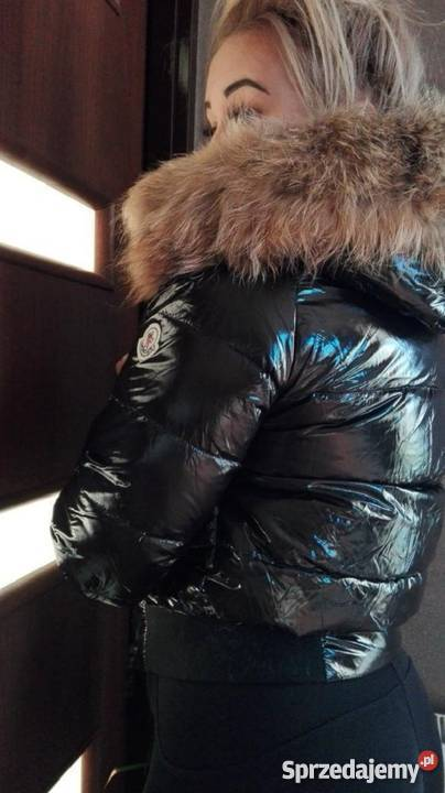 Kurtka Moncler kurtki czarna zimowa błyszcząca połysk jenot