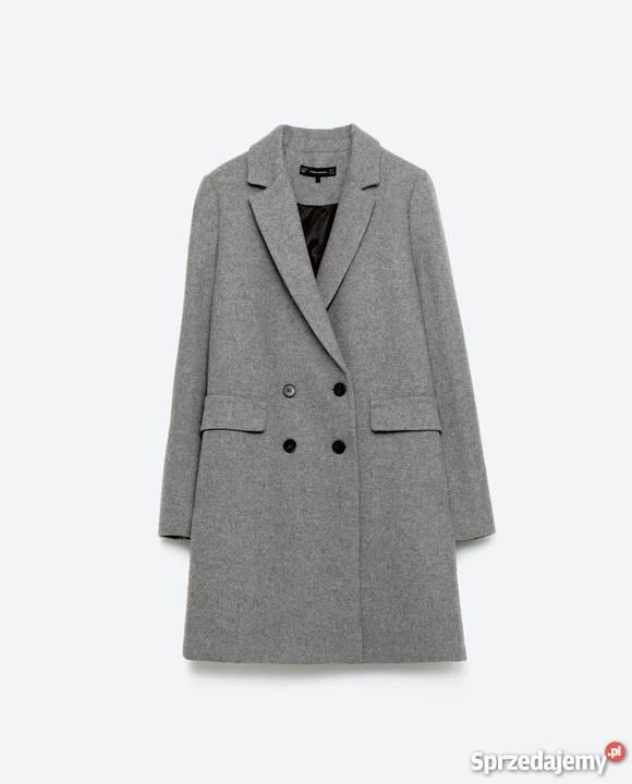 wełniany płaszcz o męskim kroju ZARA roz. M38