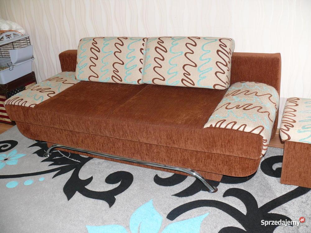 Sofa 2osobowa 2 otwierane pufy brązowy/beżowy Grudziądz sprzedam