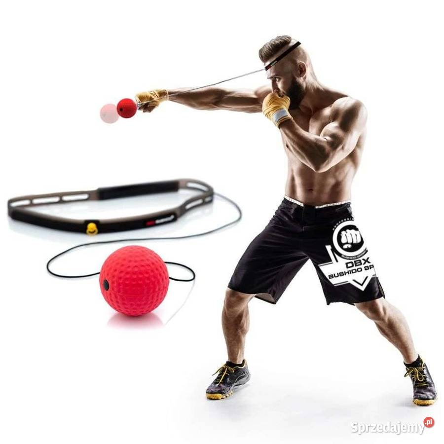 PREMIUM - Piłeczka bokserska refleksowa na głowę z opaską si