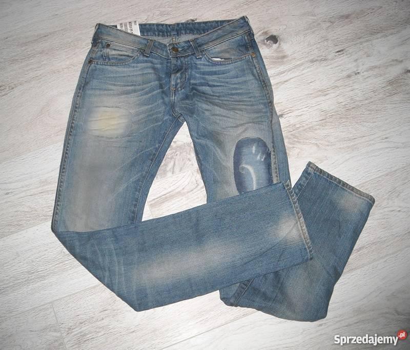 6441ed0c spodnie jeansy wrangler łaty 28 34