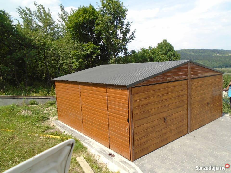 Garaż blaszany 6x6 7x5 blacha orzech złoty dąb Architektura ogrodowa małopolskie Limanowa