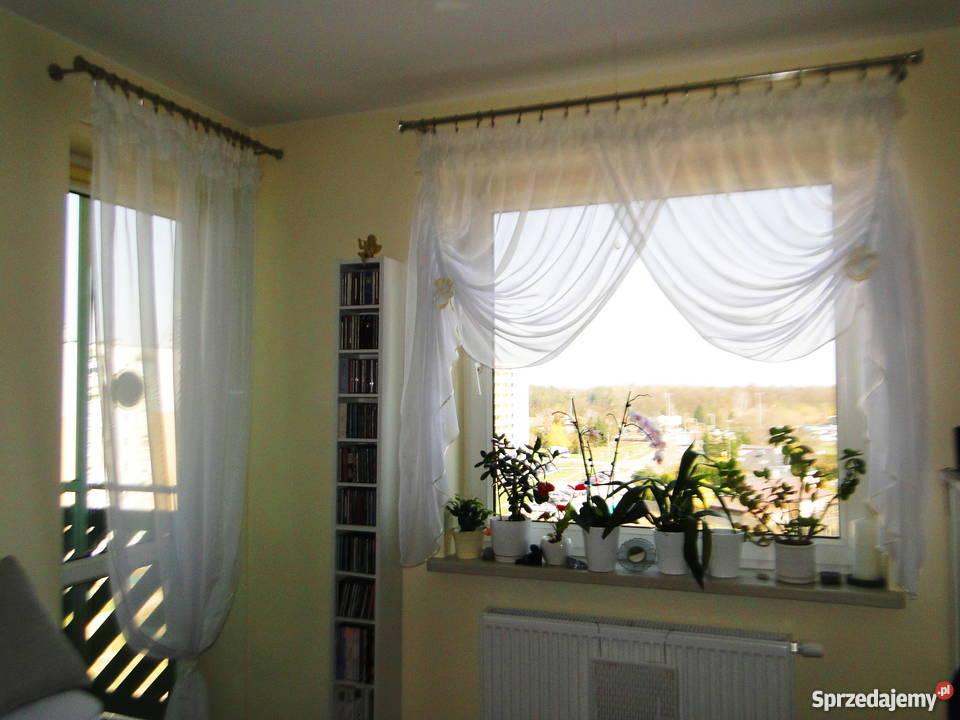 Piękne Firanki Na Taśmie Kremowa Lamówka Okno I Drzwi Balkon