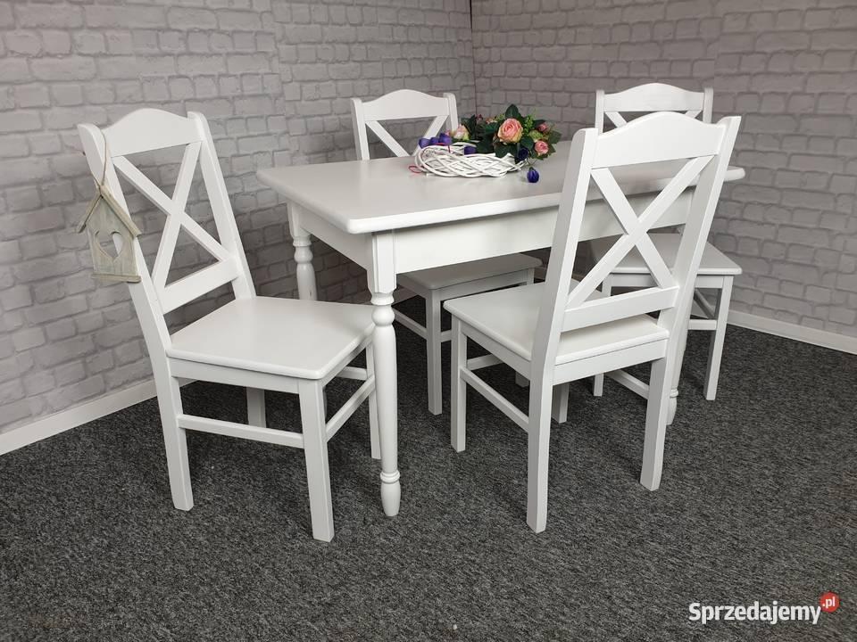 Zestaw 4 krzesła i stół  biały drewniany prowansalski
