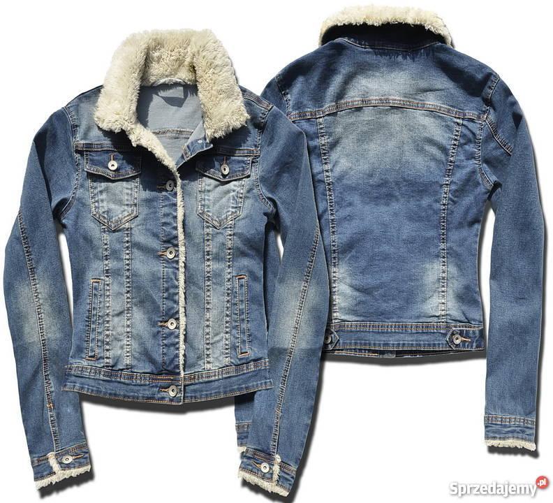 kurtka jeansowa damska z kożuszkiem typu ramoneska