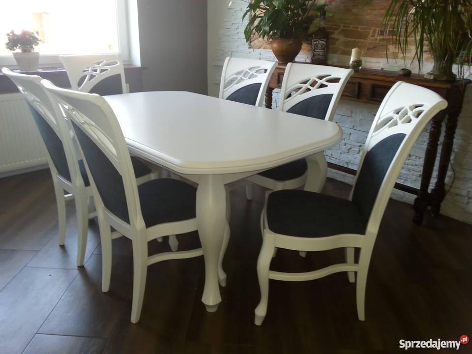 Komplet stół 140x90/210 i 6 krzeseł biały elegancki ludwik