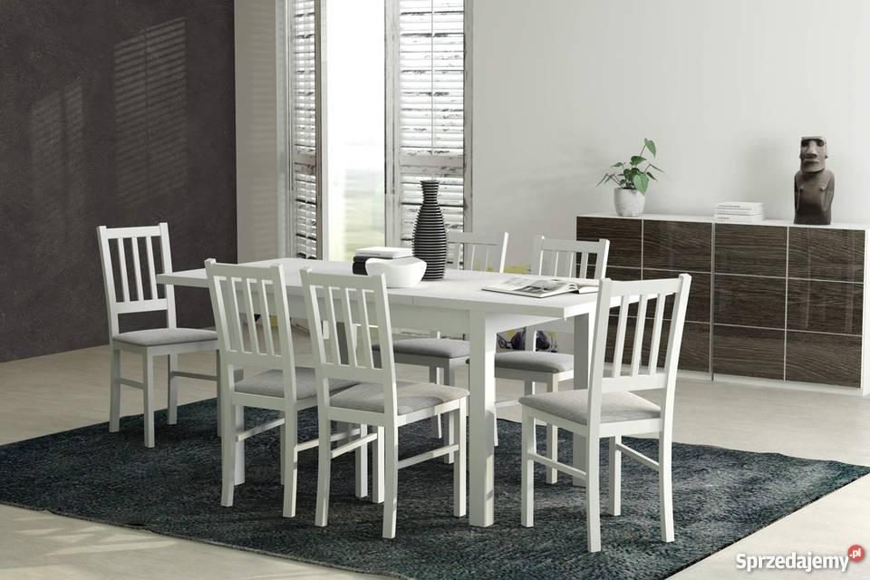 Hit Biały Stół 6 Krzeseł Do Jadalni Kuchni Salonu