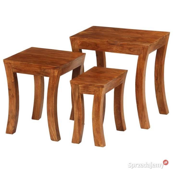 vidaXL 3 stoliki wsuwane pod siebie, drewno 246101