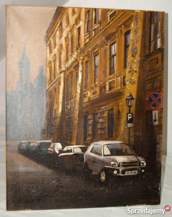 Olejny obraz Krakowa ,sygnowany M.Łozińska