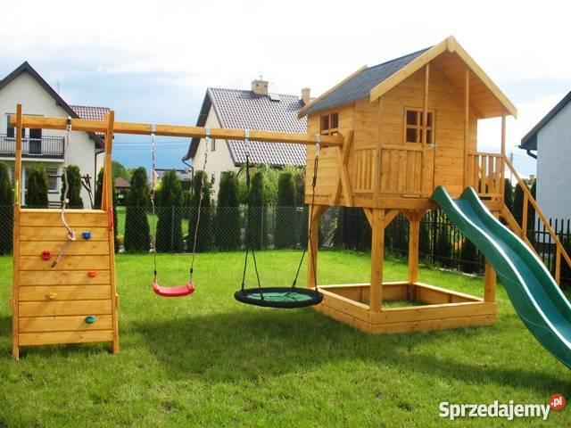 Znane drewniany plac zabaw dla dzieci domek huśtawka - Sprzedajemy.pl @TO-35