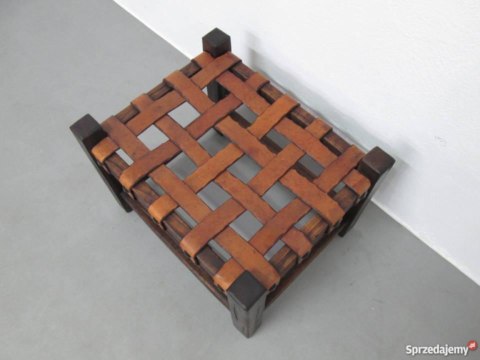 Drewniany Designerski podnóżek Skóra puff Loft Częstochowa sprzedam
