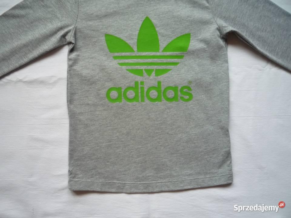 NOWA Adidas r. 92 Bluzka szara z zielonym logo Długi rękaw