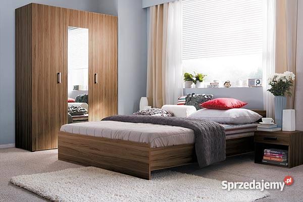 Sypialnia Libera Black Red White łóżko 160x200 Szafa 2 Nakasliki