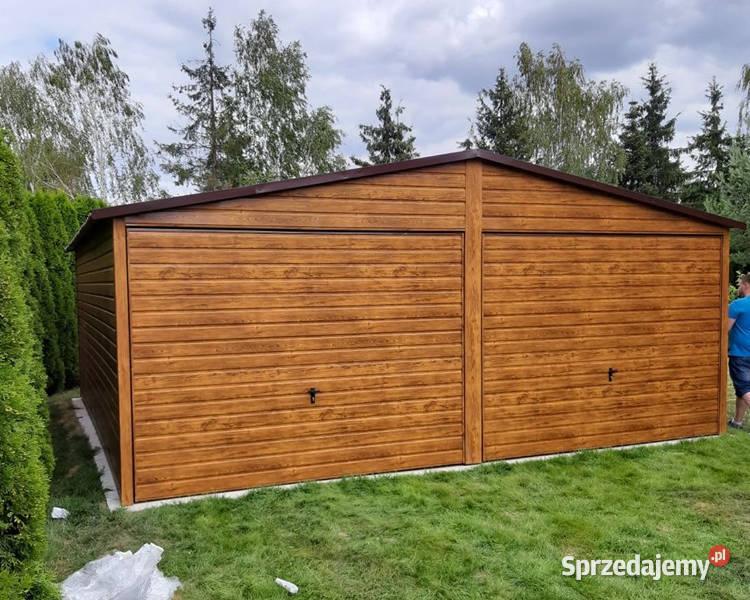 Garaż Blaszany 6x5 Drewnopodobny Garaże Wiaty Hale Blaszane