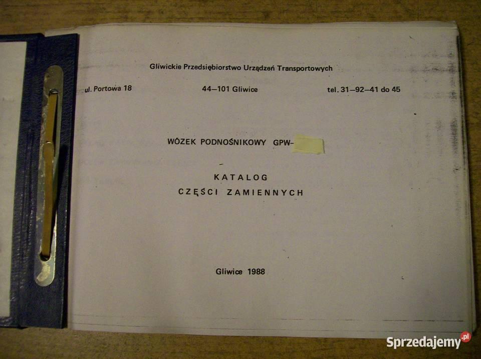Katalog części zamiennych wózka widłowego GPW Zremb Gliwice