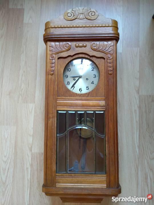 Przedwojenny Antyczny Zegar ścienny Z Gongiem Drewniany