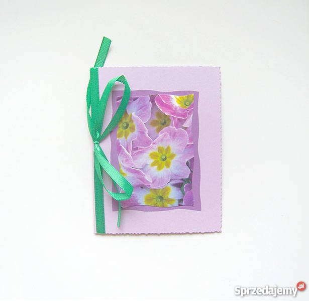 wiosenna kartka pastelowa, wiosenna ładna kartka fioletowa