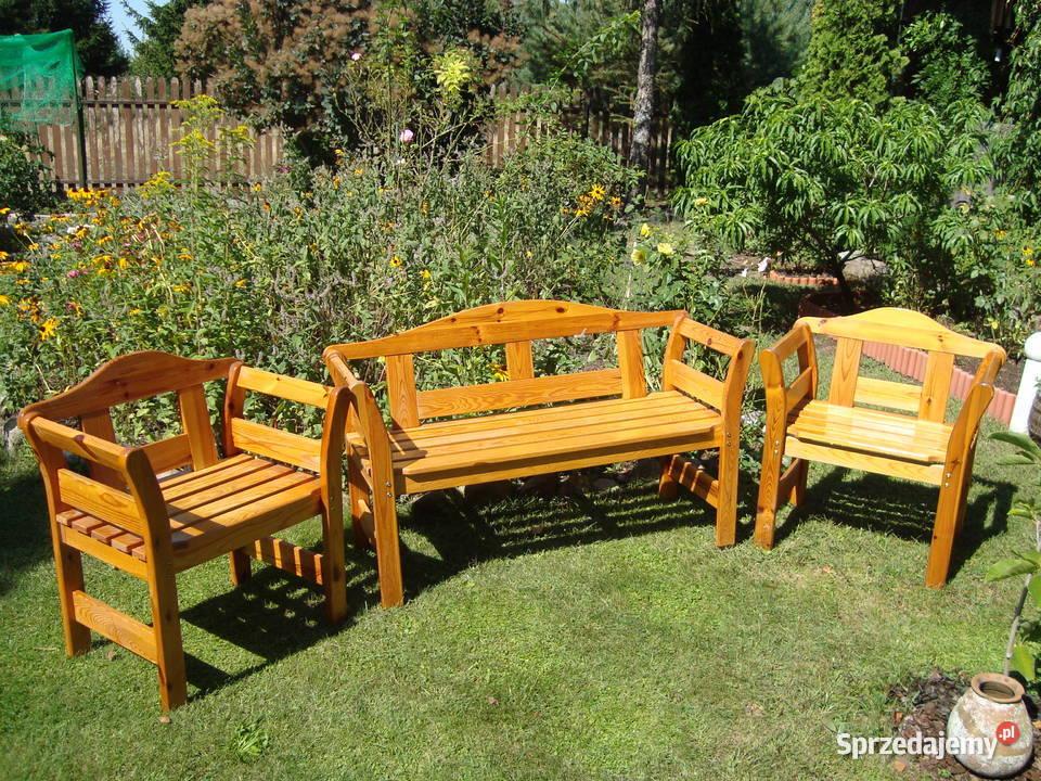 Drewniane dwa krzesła i ławka - komplet.