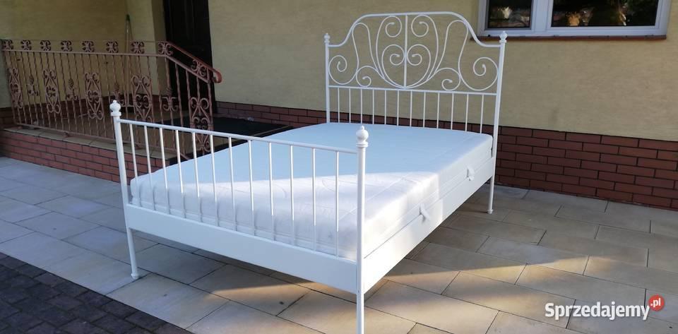 Łóżko metalowe białe stylowe 140x200 materac stelaż rama