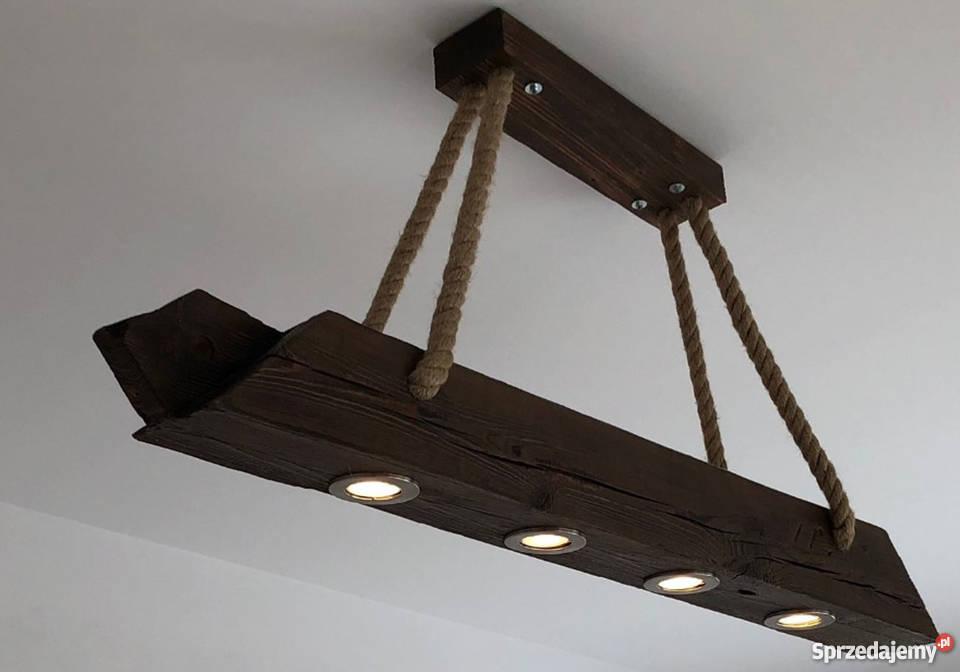 Lampa Wisząca Sufitowa Belka Drewniana Sznur Jutowy Loft