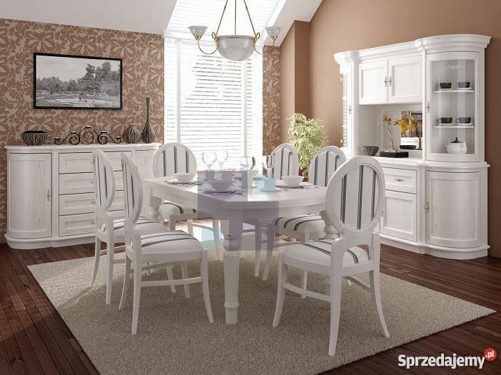 Klasyczny Debowy Bukowy Bialy Stol Z Krzeslami Radomsko
