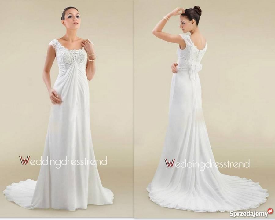 Piękna Suknia ślubna R36 38 Również Ciążowa Sanok Sprzedajemypl