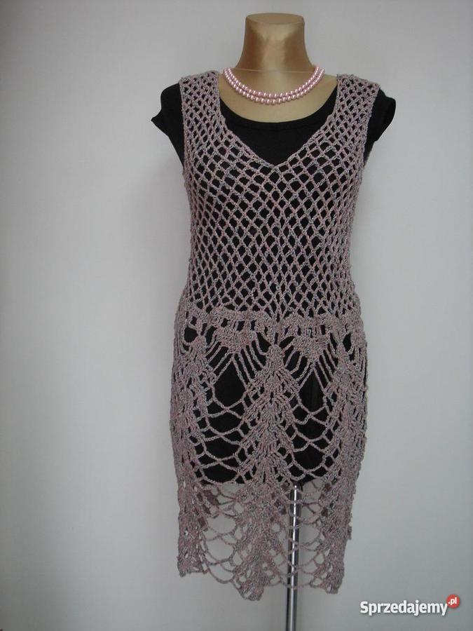 Rękodzieło sukienka robiona na szydełku z wysyłk sprzedam
