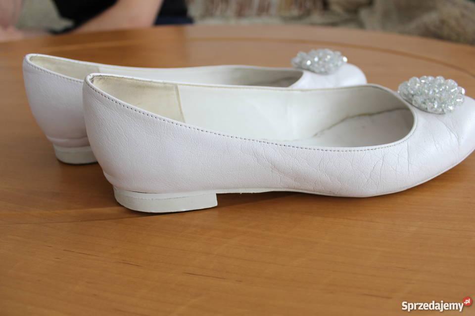 Buty ślubne Na Płaskim Obcasie Skóra 41 Białe Ivory Baleriny