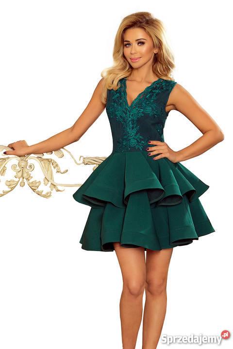 Dodatkowe CHARLOTTE ekskluzywna sukienka koronkowy dekolt zielona Mykanów AI16