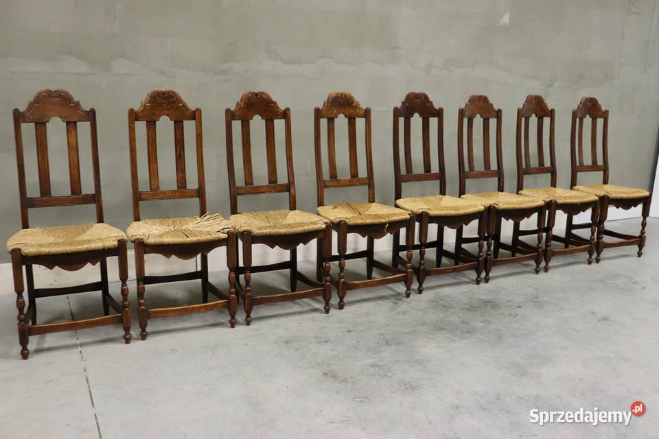 2037 krzesła z plecionką, kpl 8 szt