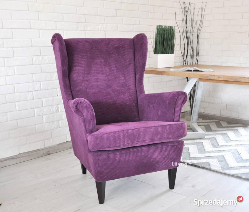 Fotel Uszak - fioletowy sztruks