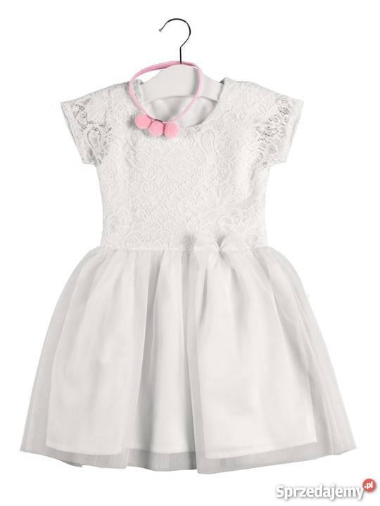 dd553ffb9b Przepiękna biała sukienka dziewczynki z koronką podlaskie Białystok sprzedam